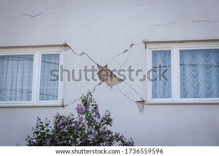 Damage house after a strong earthquake of 5.5 on the Richter scale in Zagreb, Croatia. Royalty-Free Stock Photo #1736559596