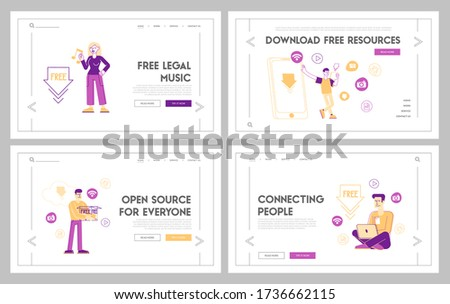 Free Download Landing Page Template Set. Characters at Huge Mobile Transfer and Sharing Files Using Torrent Servers Services. Online Media Shopping, Modern Lifestyle. Linear People Vector Illustration