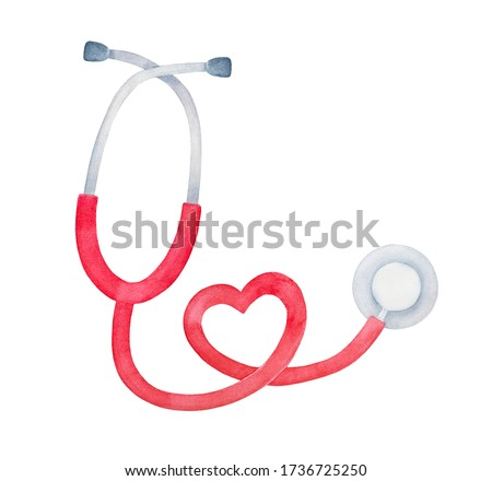 Watercolour illustration of bright red stethoscope, shaped as love heart. One single object, top view. Hand painted water color graphic drawing on white, cutout clipart element for design decoration.