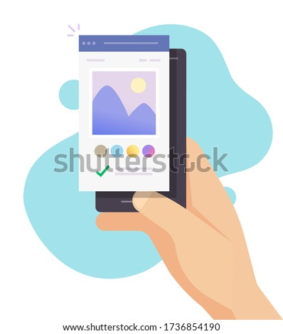 Image photo editor software app online on mobile phone vector or smartphone artist studio picture creating on digital drawing program flat cartoon, concept of editing graphic content modern design