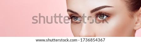 Beautiful Woman with Extreme Long False Eyelashes. Eyelash Extensions. Makeup, Cosmetics. Beauty, Skincare Royalty-Free Stock Photo #1736854367