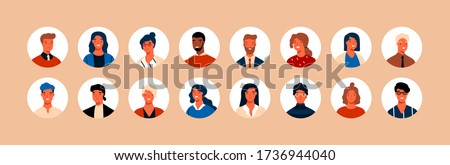 Set different person portrait of big diverse business team vector flat illustration. Collection of people avatars isolated. Bundle of joyful smiling colleagues. Man and woman faces at round frame Royalty-Free Stock Photo #1736944040