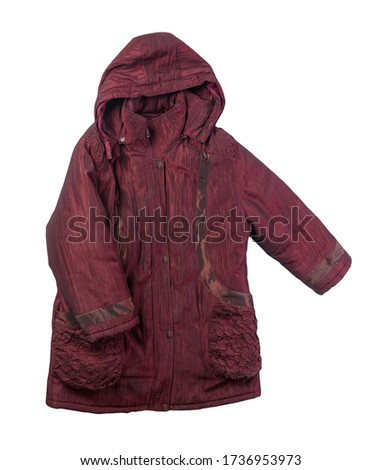 female dark red coat with a hood Isolated on a white background. autumn women's coat not wet from the rain top view #1736953973