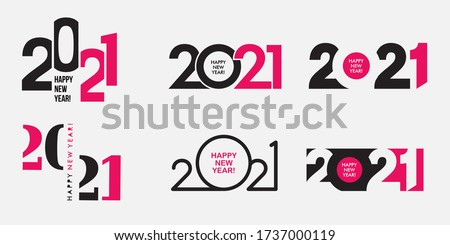 Big Set of 2021 Happy New Year logo text design. 2021 number design template. Collection of 2021 happy new year symbols. Vector illustration with black and pink labels isolated on white background.  #1737000119