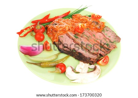 corned beef on plate with vegetables isolated over white #173700320