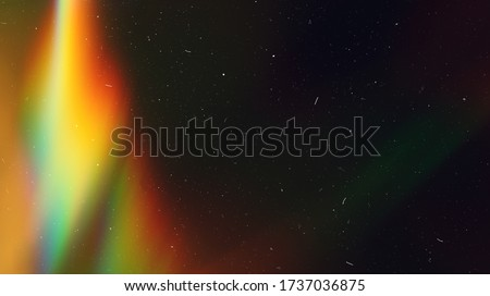Rainbow Lens Optical Flare Film Dust Overlay Effect Vintage Abstract Bokeh Light Leaks Photo Retro Camera Defocused Blur Reflection Bright Sunlights. Use Screen Overlay Mode for Photo Processing. Royalty-Free Stock Photo #1737036875