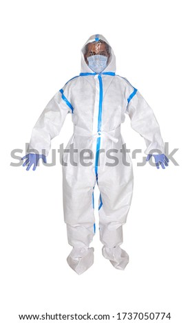 PPE personal protective equipment for airborne contaminants.Complete Protection Kit Full Body Medical Coverall Suit, facial shield, respirator mask N95 ffp3, gloves, shoe covers, plastic googles. Royalty-Free Stock Photo #1737050774