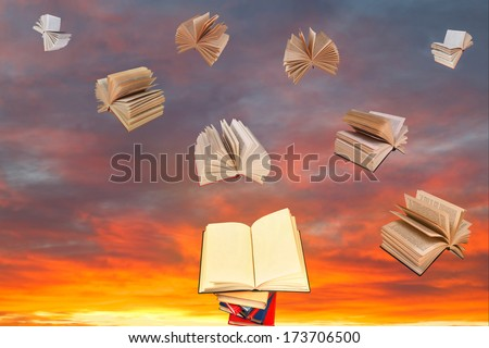 open book above of stack of books and sunset sky with flying books background #173706500