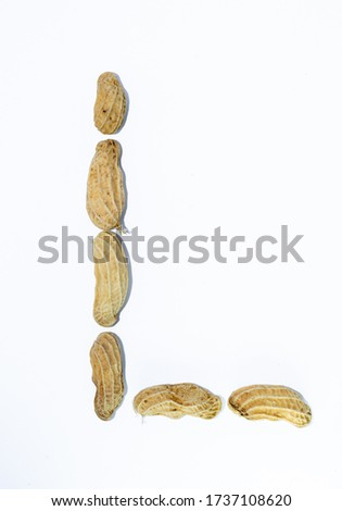 L the letter. alphabet of beans. Beans. concept of healthy eating. photo for your design. horizontal orientation of the sheet
