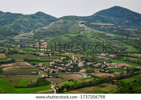 Panoramic view of the fields and vineyards on the Euganean Hills, near Este, Padova, Italy. #1737206798
