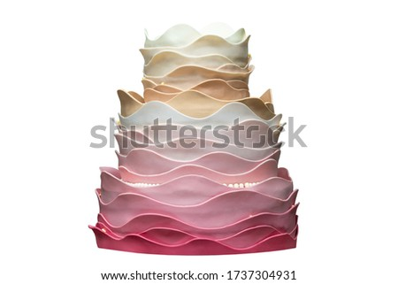 Delicate gradient wave cake isolated on white background #1737304931
