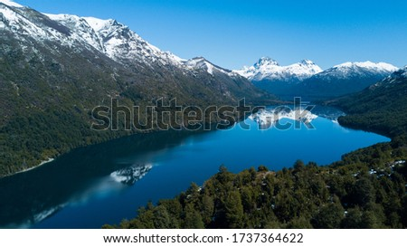 DRONE PIC OF A LAKE IN PATAGONIA