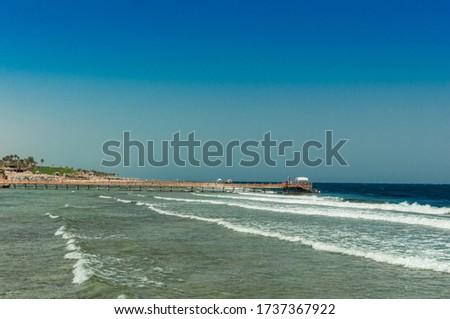 Pier at the hotel .Sharm El Sheikh. Photo on a sunny day. Mounta #1737367922