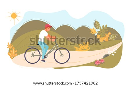 Outdoor Activity, Healthy Lifestyle, Summer Leisure Concept. Male Cyclist rides a Bicycle on a road in a public Park. Flat Art Rastered Copy