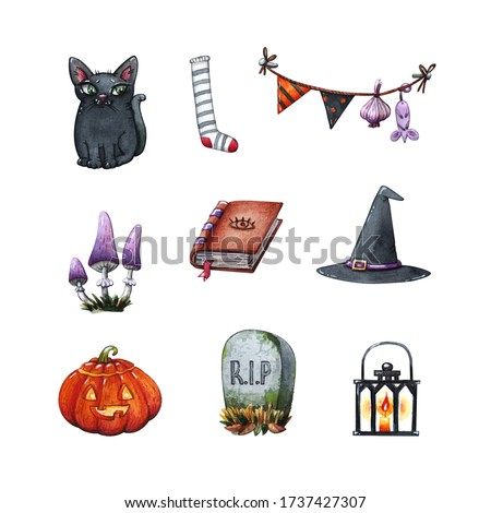 hand drawn watercolor clipart halloween set of witch's hat, magic book, black cat, garland string with jack o lantern and grave stone isolated on white - concept of witchcraft and cartoon illustration