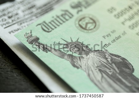Extreme close-up of Federal coronavirus stimulus check provided to all Americans from the United States Treasury in 2020 and 2021, showing the statue of liberty.  Royalty-Free Stock Photo #1737450587