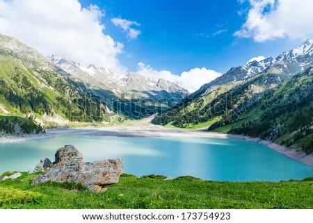 Spectacular scenic Big Almaty Lake ,Tien Shan Mountains in Almaty, Kazakhstan,Asia at summer #173754923