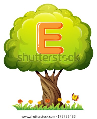 Illustration of a tree with a letter E on a white background