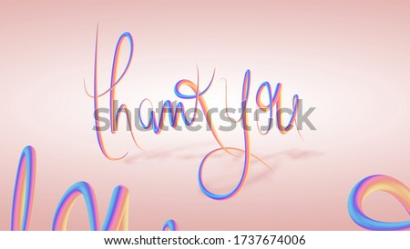 3d illustration thank you word banner in fluid multicoloured design with already prepare clipping mask path line that made easy for selection