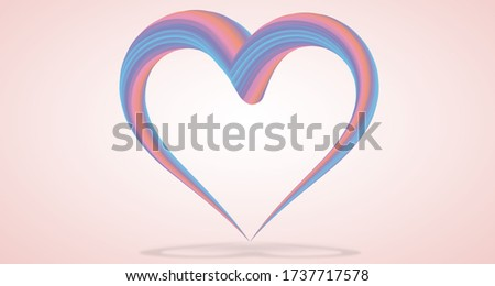 3d illustration heart shape graphic line fluid multicoloured pastel soft colour gradient with isolated clipping mask path for easy die cut
