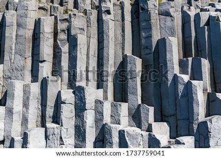 Basalt Columns close-up shot in Vik, Iceland Royalty-Free Stock Photo #1737759041