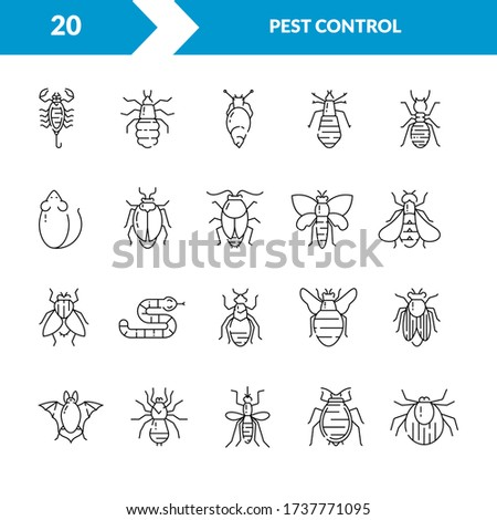Pest control. Set of icons in a linear style. Cockroach, rat, fly, mosquito, snake, louse, tick. Can be used as a design template for printing, web sites, posters.