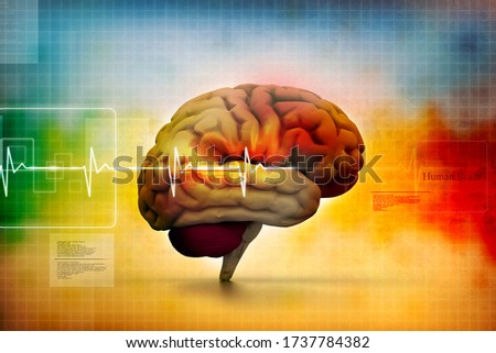 3d illustration of Human brain in abstract medical background