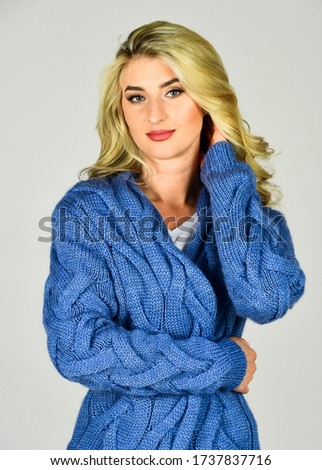 Soft and comfy. Oversize cardigan for your comfort. Fashionable cardigan. Girl long curly hair stylish outfit with soft wool cashmere cardigan. Woman wear knitted cardigan. Cozy outfit. Clothes shop. #1737837716