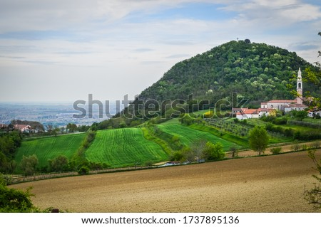 Panoramic view of the fields and vineyards on the Euganean Hills, near Este, Padova, Italy. #1737895136