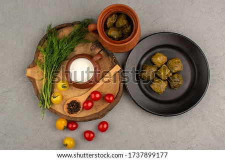 a top view dolma green famous eastern meal along with yogurt tomatoes on the grey background #1737899177