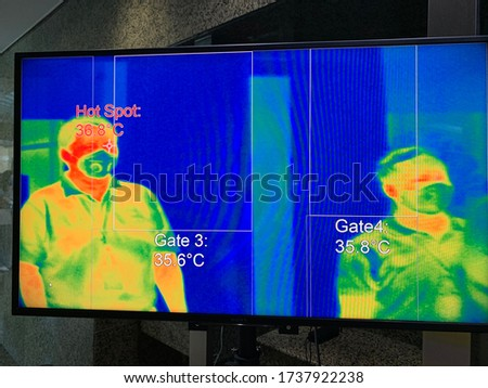 People waiting for body temperature check before access to building for against epidemic flu covid19 or corona virus from wuhan in office by thermoscan or infrared thermal camera