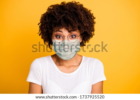 Close-up portrait of her she nice cute lovely pretty attractive wavy-haired lady save covid-19 infection wearing medical mask white t-shirt isolated over bright vivid shine background #1737925520