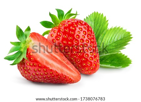 Strawberry isolated. Strawberries with leaf isolate. Whole, half, cut strawberry on white. Strawberries isolate. Side view organic strawberries. Full depth of field. #1738076783