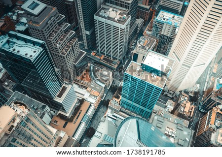 top view of the business center of the metropolis with skyscrapers Sydney Australia Royalty-Free Stock Photo #1738191785
