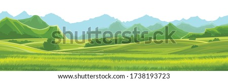 Meadows, hills and mountains. Vector background. Alpine green pastures, grass. Horizontal landscape. Summer, spring day. Scenery. Royalty-Free Stock Photo #1738193723