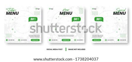Food menu banner social media post. Editable social media templates for promotions on the Food menu. Set of social media story and post frames. Layout design for marketing on social media. #1738204037