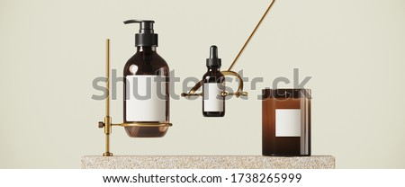 Cosmetic background for product presentation. Beige stone podium with brass screw clip on beige background. 3d rendering illustration.