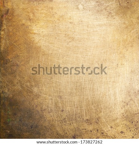 Brass plate texture, old metal background. Royalty-Free Stock Photo #173827262