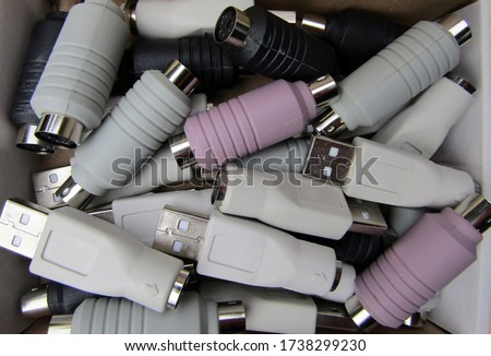 Pile of colorful computer plug-in devices