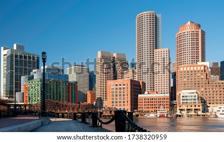Boston City Financial District Skyline over the Boston Harbor
