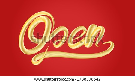 3d illustration open typography sign in gold texture effect on red background with clipping mask path made easy for die cut