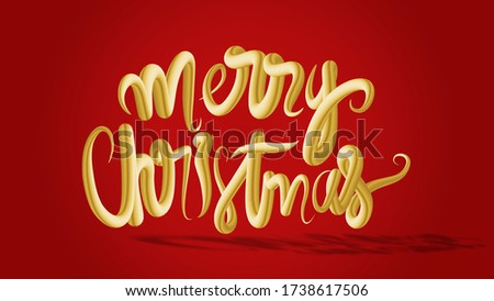3d illustration merry christmas typography sign in gold texture effect on red background with clipping mask path made easy for die cut