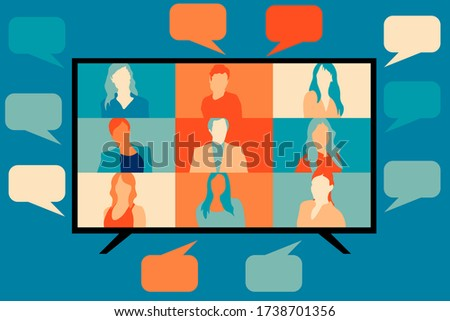 VIDEO CALL conference, screen and speech bubbles. STREAM friends! CHATTING from home. Talking about the news and global events. VECTOR flat illustration. EPS 10. Royalty-Free Stock Photo #1738701356
