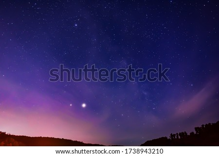 Spring Milky Way, Jupiter and Saturn planets in the night sky.