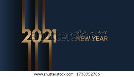 2021 happy new year with gold brown color on blue and grey background. 2021 new year design template Royalty-Free Stock Photo #1738952786