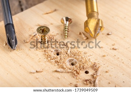 Screwing metal screws into chipboard for furniture construction. Small carpentry work in the home workshop. Light background. #1739049509