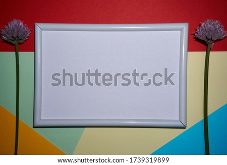 Colorful geometric texture paper pattern in yellow, blue, red, with a picture frame in white with a chive flower.