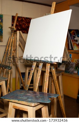 an empty easel. Canvas. palette