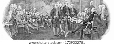 """Engraved modified reproduction of the painting """"Signing of the Declaration of Independence"""" in 1776 (painting by John Trumbull). Portrait from United States of America 2 Dollars 1976 Banknotes. Royalty-Free Stock Photo #1739332751"""