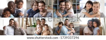 Happy multiethnic young adult and old daddies hugging children looking at camera. Smiling african and caucasian dads posing with kids for family faces headshots portraits. Fathers day concept. Collage #1739337296